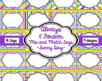 Tags, Labels, Frames-Sunny Days Pack-Purple, Blue, Yellow, Pink, Green, Orange-Instant Download