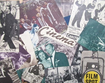 Vintage film paper ephemera pack: 50 paper pictures, die cuts, clippings. Embellishments for scrapbooks, collage, art journals. EP575