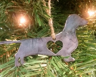 Dachshund Love Rustic Christmas Ornament Metal Dog Heart Christmas Tree Decoration Holiday Gift Industrial Decor Wedding By BE Creations
