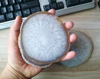 Large Natural White Grey Agate Slice Agate Coaster White Agate Geode Slab Stone Coaster Crystal Coasters High Quality Wholesale