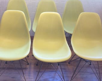 Eames DSR Chairs, Herman Miller / Set of 6/ LIME GREEN/ Authenic