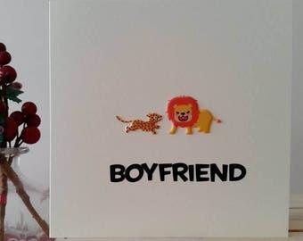 Boyfriend Birthday Card - Lion Birthday Card Leopard My Lion - Handmade Card for Special Boyfriend - Unique Card - Animal Card - Anniversary