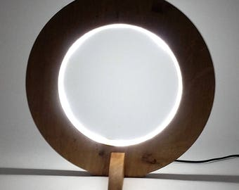 Solid Circle Oak Desk Lamp/Light, Low voltage LED Lighting, Table, Office, Hand Crafted