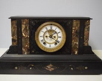 Beautiful Antique Ansonia Black Mantle Clock