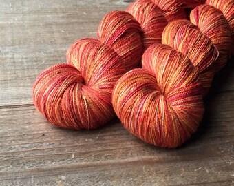 GRAPEFRUIT OOAK pure silk lace, lace yarn, knitting, crochet
