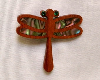 dragon fly wooden brooch