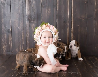 Floral bonnet, sitter romper, photo prop, bonnet