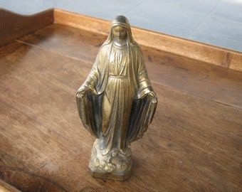 Virgin Mary Statue, Virgin Mary Statuette, Metal Virgin Mary, French Religious Statue, Vintage Catholic Statue