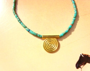 TURQUOISE NECKLACE gold plated PENDANT spiral bead