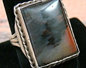 Vintage Mans Navajo Petrified Wood Ring Sz 12 1/2-Item #763R