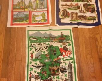 Vintage Pure Linen Tea Towels Lot of 3 Edinburgh Scotland London England and Living in Ireland Souvenir Dish Towels Linen Towels