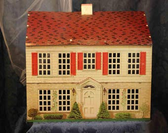 Metal 1950's Colonial  Litho Dollhouse Plus 5 free pieces of Furniture of Your Choosing