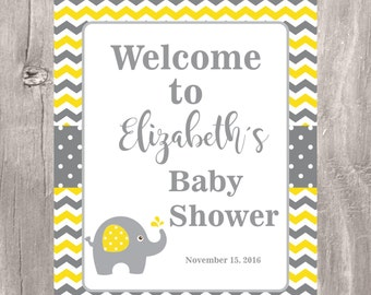 Elephant Baby Shower Welcome Sign, Printable Chevron Yellow and Grey Personalized Baby Shower Welcome Sign, Baby Shower Decoration,