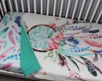 Dream catcher Baby Blanket, Dreamcatcher Toddler Comforter, Dream Catcher Bedding, Baby Girl Blanket, Girl Blanket. This is without Quote.