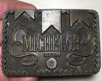 Michelob Beer Belt Buckle.  Made by Koleaco Enterprises in Garland TX for Anheuser-Busch in 1976.