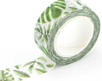 Washi tape, printed, green, tropical