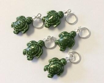 Green Turtles Knitting / Crochet Stitch Markers - Set of 5