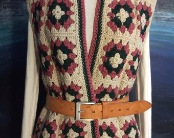 Gorgeous hand crocheted Granny Square vintage wool women's vest