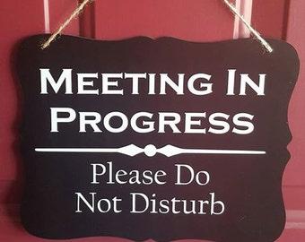 Door Hanger - Meeting In Progress - Please Do Not Disturb Door Sign