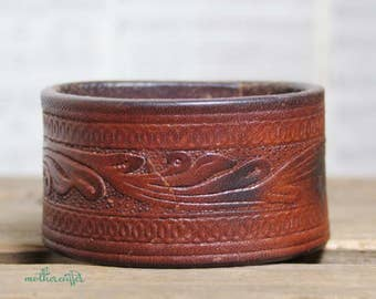 CUSTOM HANDSTAMPED dark brown leather cuff with tooled design by mothercuffer