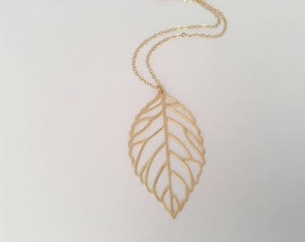 Large Filigree Leaf Necklace, Gold leaf necklace, Nature Inspired, Birthday, Anniversary, Mother's day, Gift for Her
