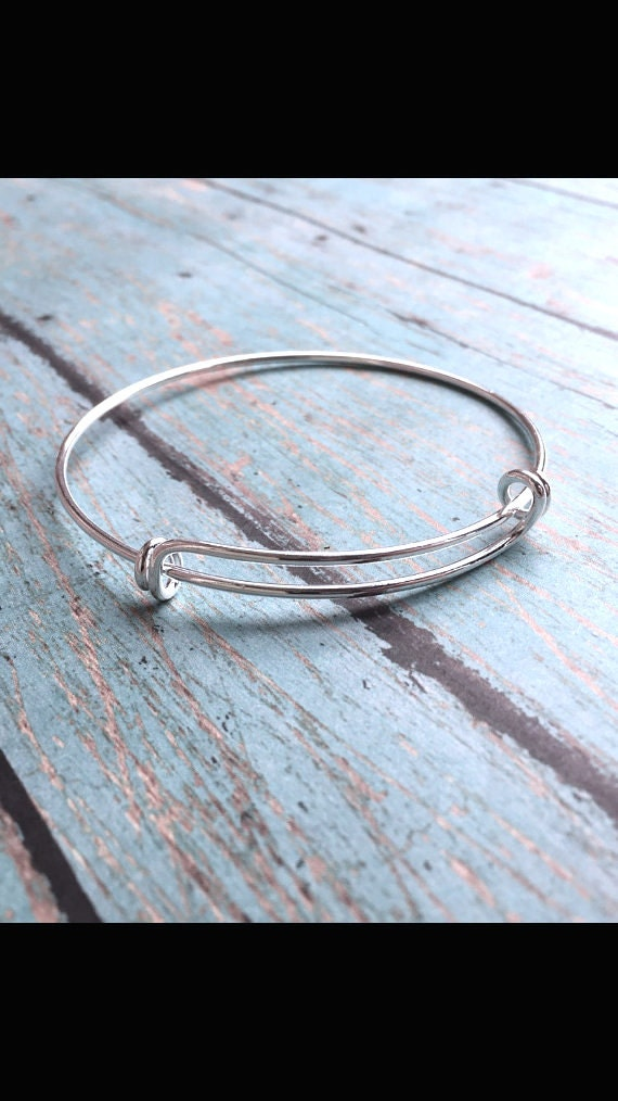 Double loop silver plated bangle bracelet (1 piece ...