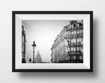 Fine ART Print of Paris  -  Ile Saint Louis and the Panthéon Photo in Black and White Street View Picture Poster France Ambiance