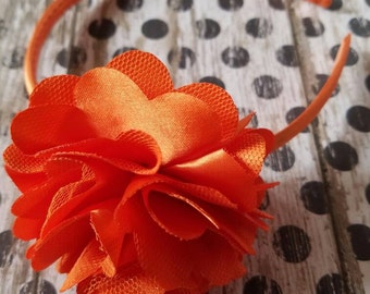 Satin Mesh Flower Headband