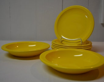 Yellow Texas Ware Dallas Ware - SET of 8 - 6 Salad Plates and 2 Bowls - Melmac Melamine - GREAT for Camping - Awesome Condition!!!