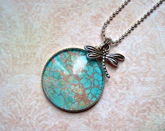 Chain Dragonfly silver cabochon Crackle turquoise