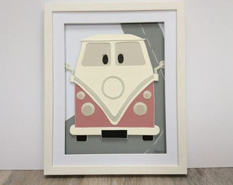 Pink CamperVan. Hand cut and assembled childrens art. Professionally framed. Unique childrens gift.