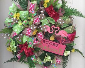 Spring Wreath- Summer Wreath- Front Door Wreaths- Deco Mesh Wreath-  Flamingo Wreath