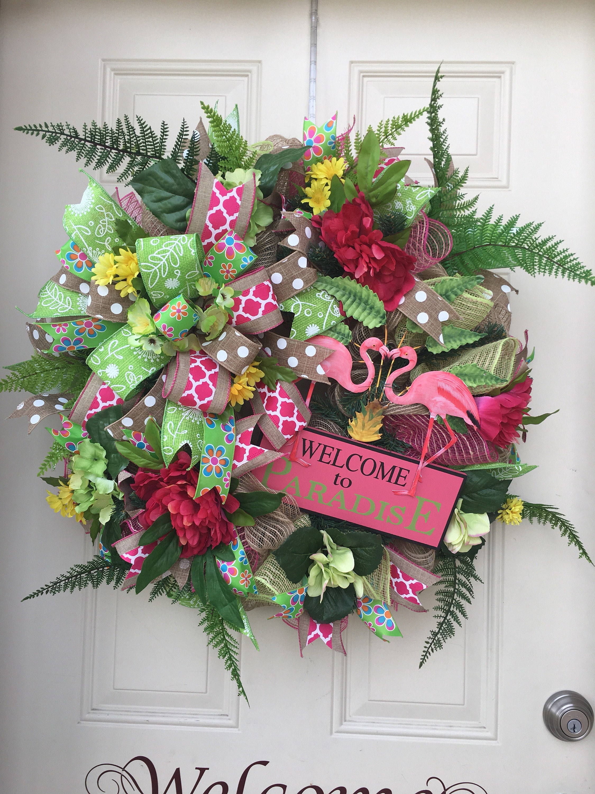 Amazing Spring Wreath Summer Wreath Front Door Wreaths Deco Mesh Door Handles Collection Olytizonderlifede