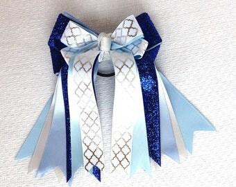Equestrian Horse Show Hair Bows/Blue Sparkle Glitter Bling!/Gift