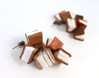 Mini Book Cluster Earrings, Post Dangle Earrings, Tiny Real Leather and Paper Book Charm Post Stud Drop Earrings, Gift for Librarian, Author