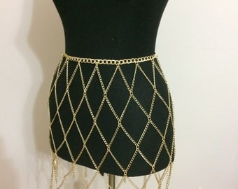 Chain Skirt, Gold Chain Skirt , Gold Body Chain , Body  Jewelry, CSK1065-02