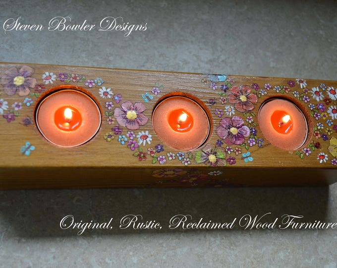 LAST ONE ! Rustic Reclaimed Wood Tealight Holder in Medium Oak Stain with Decorative Country Cottage Flowers, Ladybirds & Butterflies
