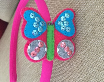 Butterfly Headband.100% handmade.Gift for girls and toddlers. Birthday present.Cute hair accessories.