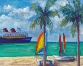 Day in paradise, oil painting, disney painting, castaway cay, original art