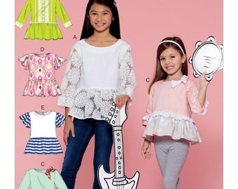 McCall's Sewing Pattern M7559 Children's/Girls' Peplum-Style Tops with Trim Variations