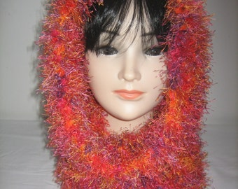 Collar snood hood 3 in 1 wool hairy red orange fancy red and lilac