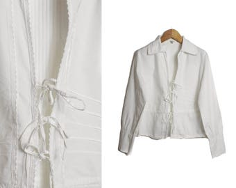 White blouse, Long sleeve bouse, Vintage White shirt, Womens blouse, White shirt, Vintage 80s blouse, Tie up blouse, Steampunk / Medium
