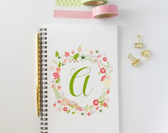 Personalized Notebook, Floral Initial Spiral Notebook, Spiral Bound Writing Journal (NB10)