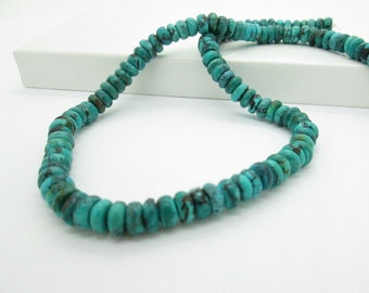 Dark Blue Natural Turquoise Rondelles, Hubei Turquoise, 7x4mm (65)
