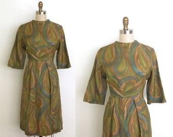 Vintage 1960s dress // 60s watercolour print mod dress