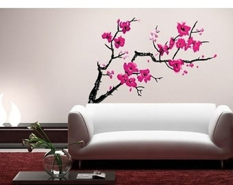Cherry blossom stencil etsy uk for Cherry blossom wall mural stencil