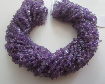 "Elegent Finest Quality 34"" Natural Amethyst 3-4 mm chips/uncut/Free size gemstone beads loose"