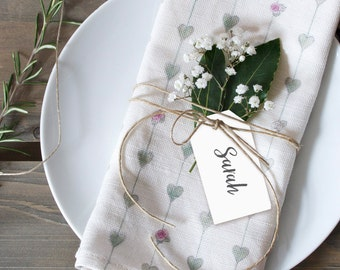 Linen Hearts & Roses Napkins - Set of 2 with personalized name place tags