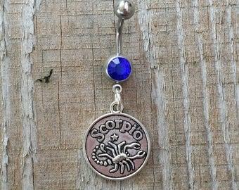 Scorpio Belly Button Ring, Zodiac Navel Ring, Dangle Belly Ring, Body Piercing, Zodiac Charm, Body Jewelry, 14g Barbell.