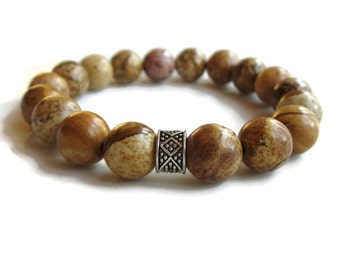 Mens bracelet, mens beaded bracelet, picture jasper bracelet jewellery, mens gift idea